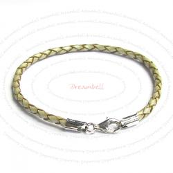 1x Sterling Silver Pearl Bolo Braided leather 3mm BRACELET for European Bead charms 7.5""