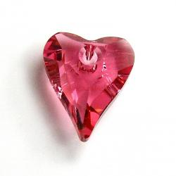 2x Swarovski Crystal 6240 Indian Pink Wild Heart Charm Pendant 12mm
