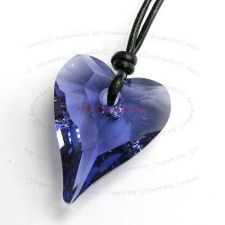 "Tanzanite Wild Heart Love Pendant 27mm Black Leather 1mm Necklace 16"" Adjustable Using Swarovski Elements Crystal"