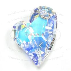 Swarovski 6261 Crystal Devoted 2 U Heart Charm pendant Clear AB 27mm
