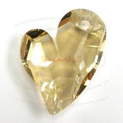 Swarovski 6261 Crystal Devoted 2 U Heart Charm pendant Golden Shadow 27mm