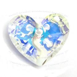 Swarovski 6263 Crystal Forever 1 Heart Charm pendant Clear AB 36mm