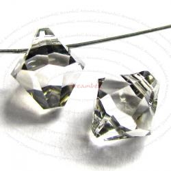 12x Swarovski crystal 6301 Top Drill Bicone Clear Satin 6mm