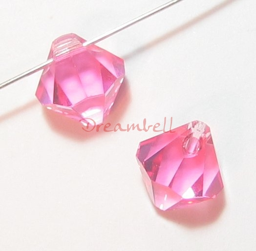 6x Swarovski Crystal 6328 Top Drill Bicone Pink Rose 8mm