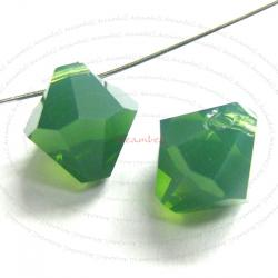 6x Swarovski crystal 6301 Top Drill Bicone Palace Green Opal 8mm