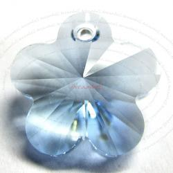 2x Swarovski Elements Crystal 6744 Flower Charm Bead 14mm Aquamarine