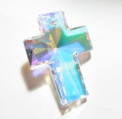 Huge Swarovski Elements Crystal Clear AB Cross 6864 Pendant 40mm