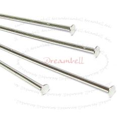 50x Rhodium Plated on Metal Headpins Head pins 21ga 35mm