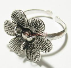 1 pc x Bali STERLING SILVER 3-HOLE FLOWER RING CASE