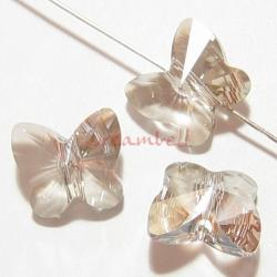 6 Swarovski Elements Crystal 5754 Butterfly Bead 10mm Silver Shade