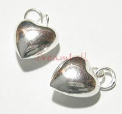2x Sterling SILVER PUFF HEART CHARM PENDANT W/ jump ring
