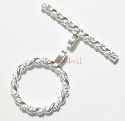 1x Sterling Silver Twist Rope Toggle Clasp 12mm