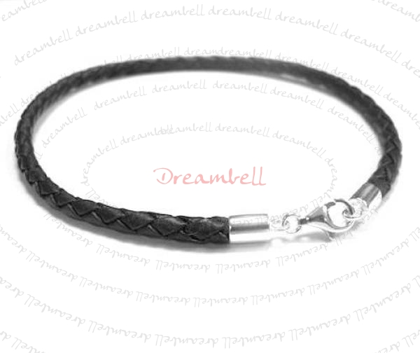 1x Sterling Silver Black Braided Leather cord 3mm Anklet Bracelet 9.5""
