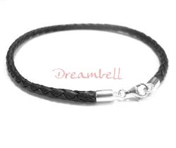 1x Sterling Silver Black Braided Leather cord 3mm Anklet Bracelet 10.5""