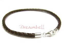1x Sterling Silver Dark Brown Braided Leather cord 3mm Anklet Bracelet 9.5""