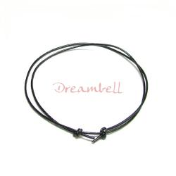 "1x Black leather cord 1mm adjustable Anklet Bracelet 9""-17"""