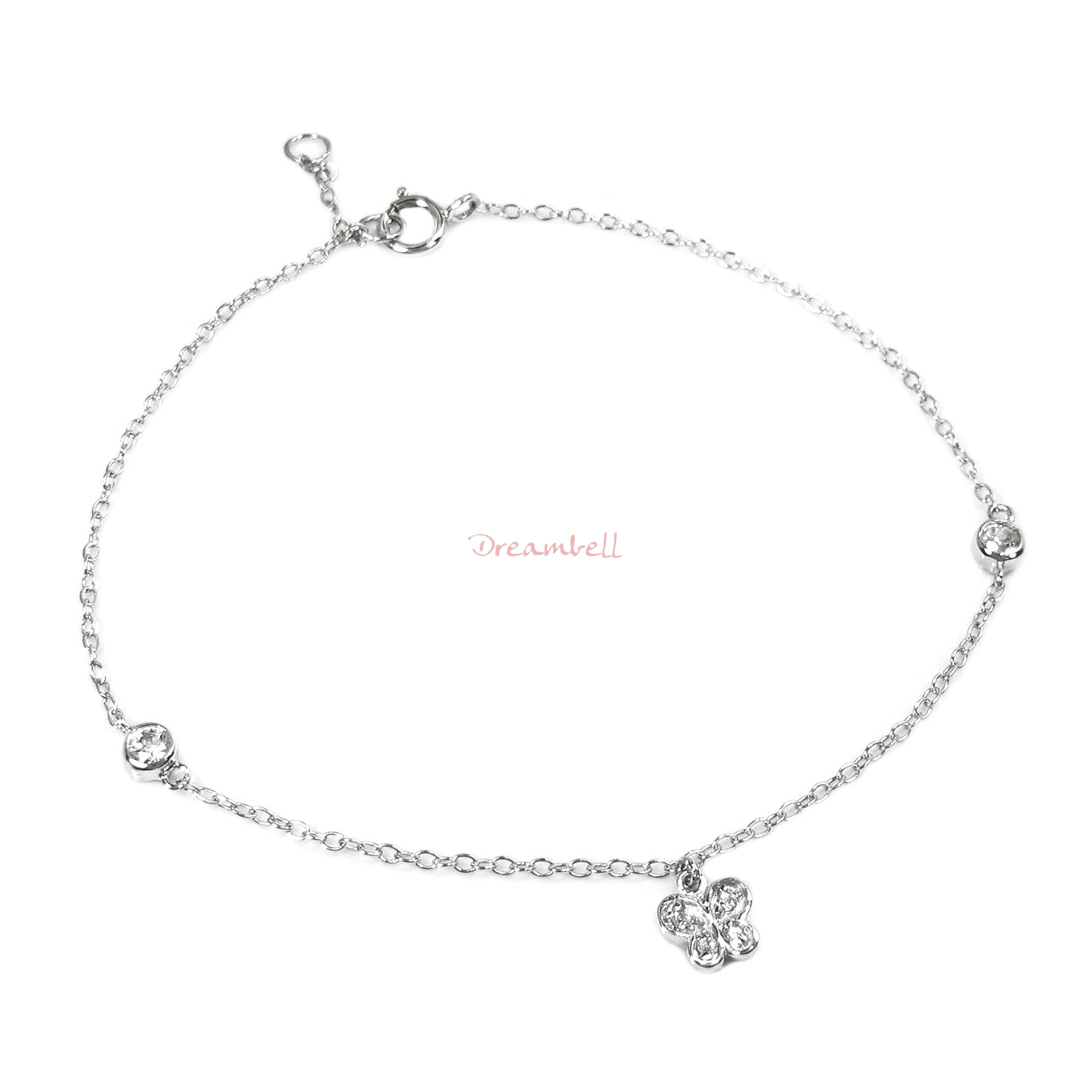 Rhodium on Sterling Silver Butterfly Clear CZ Crystal Charm Link Chain Anklet w/ Extender Spring Clasp 7""