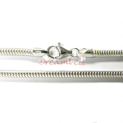 1x Sterling Silver 3mm SNAKE BRACELET for European Bead Charm 8""