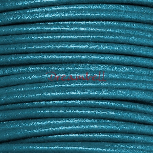 2 Yards Natural Leather Bead Stringing Cord 1mm Metallic Turquoise (Trully Teal)