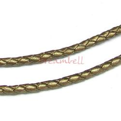 1 yard  Natural Braided  Leather BEAD STRINGING CORD 3mm Metallic Bronze