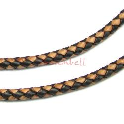 1 yard  Natural Braided Bolo  Leather BEAD STRINGING CORD 6mm Black and Dark Brown