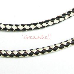 1 yard  Natural Braided Bolo  Leather BEAD STRINGING CORD 3mm Black and White