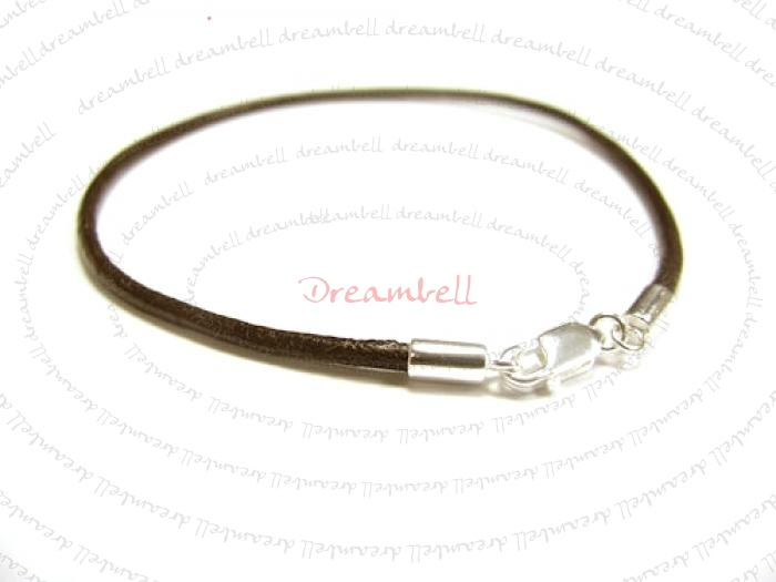 1x Sterling Silver Dark Brown Leather cord 2mm Anklet Bracelet  9.5""