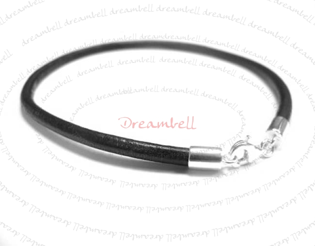 1x Sterling Silver Black Leather cord 3mm Anklet Bracelet 9.5""