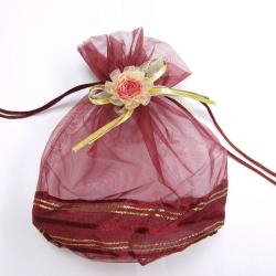2x Organza RED FLOWER Jewellery GIFT BAGS Pouches 8""
