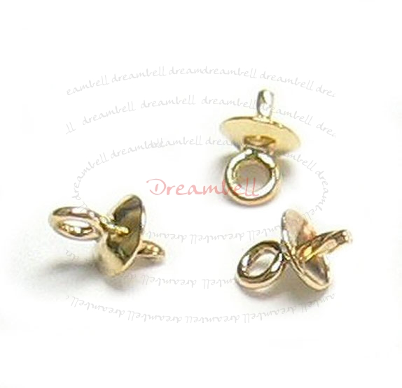 2x 14k Gold Filled 3mm Cup Screwed Eye Pins Bail Pearl Pendant Connector