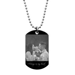 Personalized Photo Text Engraved Stainless Steel Custom Dog Tag Pendant with Ball Chain Necklace 24""