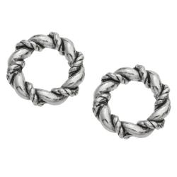 2x Bali Sterling Silver Twist Closed Jump Ring 9.5mm  Heavy