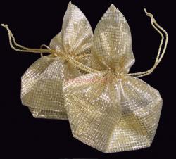 4x Organza Gold SQUARE Jewellery GIFT BAGS Pouches 7""