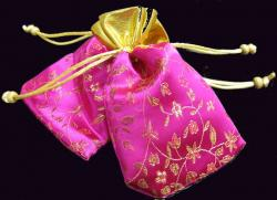 4x Organza Pink CHINESE FLOWER GIFT BAGS Pouches 5.5""