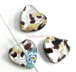 2x Fused Murano Flower Lampwork FOIL GLASS HEART bead Gold stone BLACK 12mm