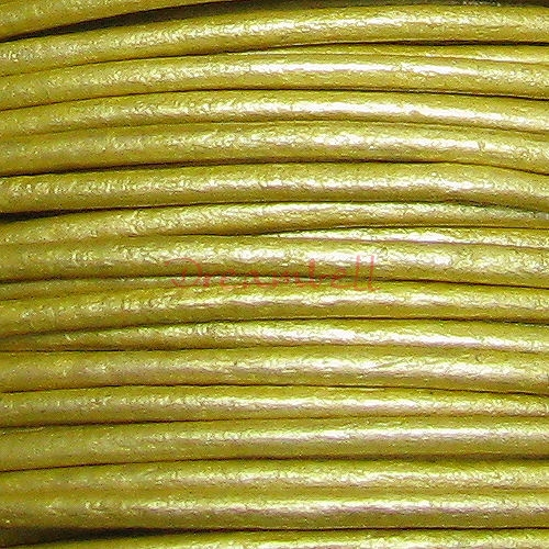 2 yards  Natural Leather BEAD STRINGING CORD 1mm Metallic Gold