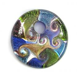 LEGEND Gold Silver Huge Lampwork Fused DICHROIC ROUND Glass Pendant 45mm
