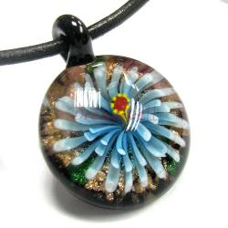 1x Encased Lampwork Fused Dichroic Chrysanthemum FLOWER Glass Pendant 47mm