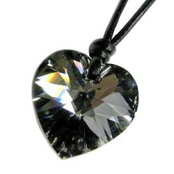 Silver Night Heart Charm Pendant 18mm Black Leather 1mm Necklace Adjustable Using Swarovski Elements Crystal