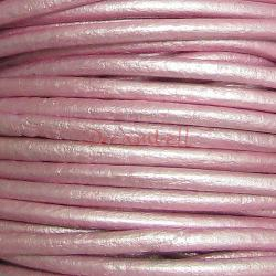 2 YARDS Natural Leather BEAD STRINGING CORD 2mm Metallic Pink (Suraiya)