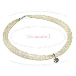 "Sterling Silver GOLD Mesh Ribbon Choker Necklace 14.5""- 16.5"" for European Beads"
