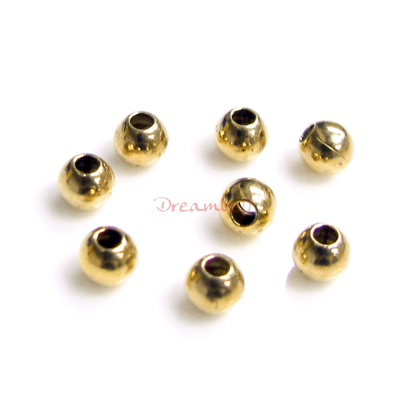 100pcs Brass 3mm Round Seamless Spacer Bead 1.2mm