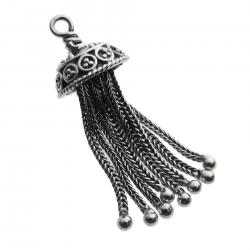 1x Bali Sterling Silver Necklace Charm TASSEL Dangle Bead
