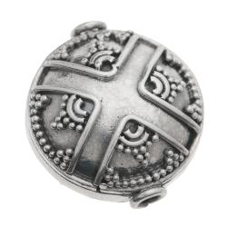 1x Bali Sterling Silver Round Dots CROSS Focal Bead 15mm
