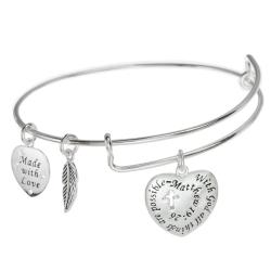 925 Sterling Silver Christian Cross with God All Things Are Possible Heart Leaf Dangle Charm Adjustable Wire Bangle Bracelet