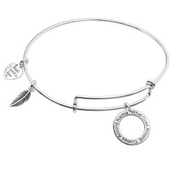 "925 Sterling Silver ""What Goes Around, Comes Around Karma"" Heart Feather Dangle Charm Adjustable Wire Bangle Bracelet"