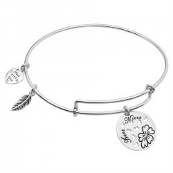 925 Sterling Silver Rose Aunt & Niece Heart Feather Dangle Charm Adjustable Wire Bangle Bracelet