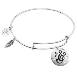 925 Sterling Silver Love & Music Heart Feather Dangle Charm Adjustable Wire Bangle Bracelet