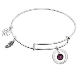 925 Sterling Silver Birthstone February Purple Crystal Charm Adjustable Wire Bangle Bracelet