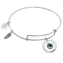 925 Sterling Silver Birthstone March Blue Crystal Charm Adjustable Wire Bangle Bracelet